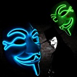 Halloween V for Vendetta Mask LED Scary EL-Wire Mask Light Up Festival Cosplay Costume Supplies Party Mask