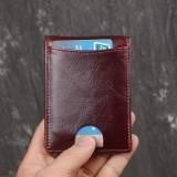 Men Genuine Leather RFID Anti-theft Antimagnetic Swipe Easy Carry Card Bag Money Clip Wallet