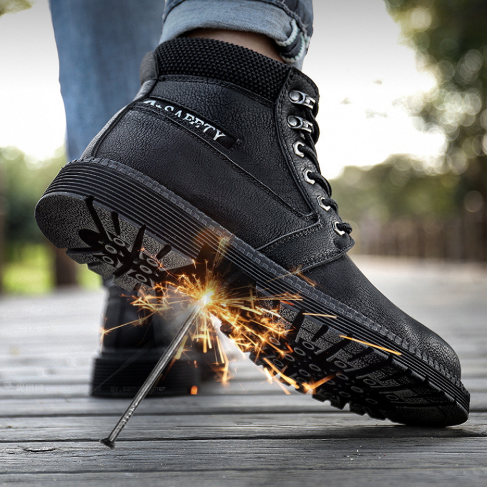 TENGOO Men's Leather Trekking Shoes Non Slip Breathable Absorption Sneakers Safety Work Shoes High-top Running Shoes