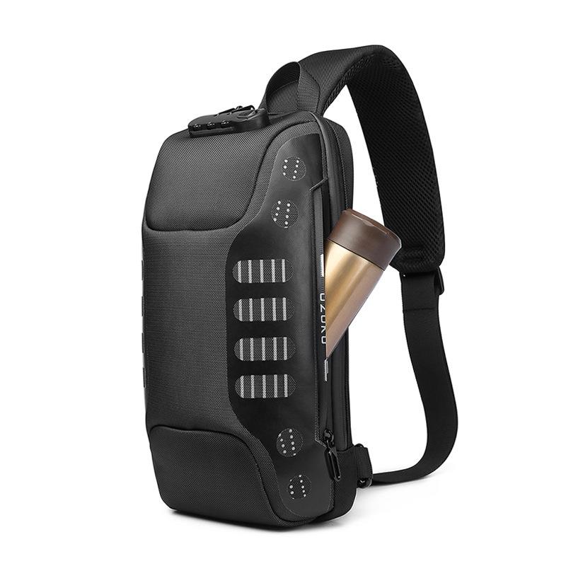 OZUKO Waterproof USB Sling Bag Headphone Jack Anti-theft Lock Shoulder Bag Chest Messenger Pack Camping Travel