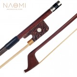 NAOMI 4/4 Double Bass Bow French Style Brazilwood Stick with Wenge Frog Sheep Skin Grip White Horsehair