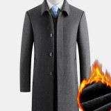 Mens Solid Color Thick Warm Single-Breasted Business Woolen Cloth Trench Coats