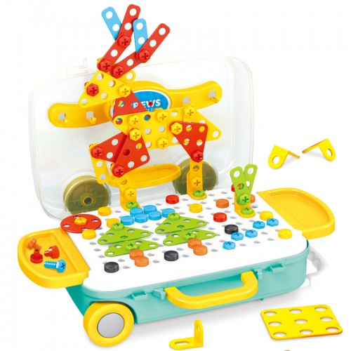 258 Pcs Electric Drill Puzzle Toys Set Trolley Case Assembling Educational Toys No Electricity