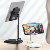 IPAKY Desktop 3-Port USB Charger Foldable Height Adjustable Phone Holder Tablet Stand For 4.0-12.9 Inch Smart Phone Tablet for iPhone 11 SE 2020 for iPad Pro 12.9 Inch 2020 Online Course Live Stream