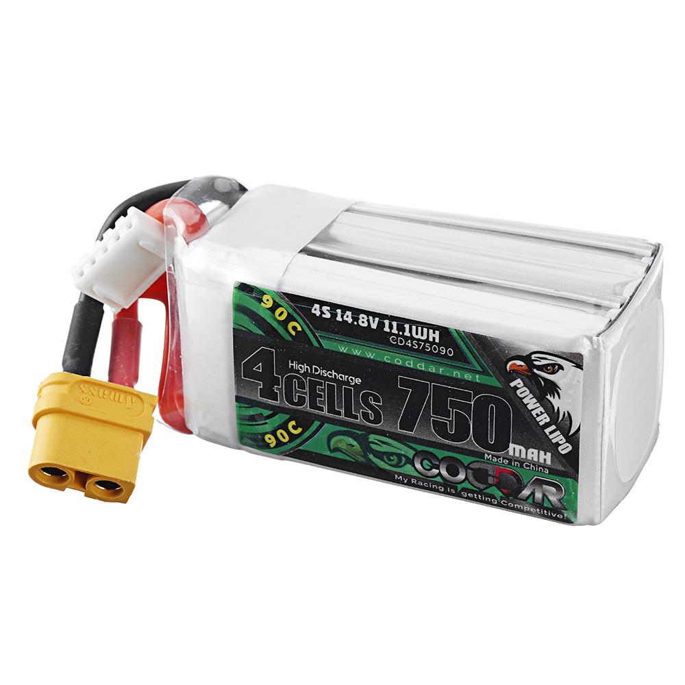 CODDAR 14.8V 750mAh 90C 4S Lipo Battery XT30 Plug for RC Racing Drone