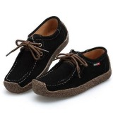 Women Suede Lace-up Flats Leather Loafer Boat Shoes Casual Comfortable Soft Shoes Camping Hiking Travel
