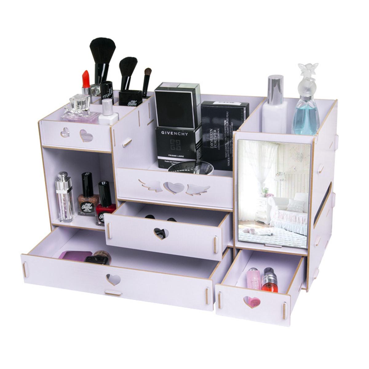 Cosmetics Box Makeup Storage Organizer with Mirror DIY Dressing Box Storage Rack Baskets Jewelry Tissue Drawer Case