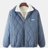 Mens Solid Color Zipper Warm Long Sleeve Casual Coats