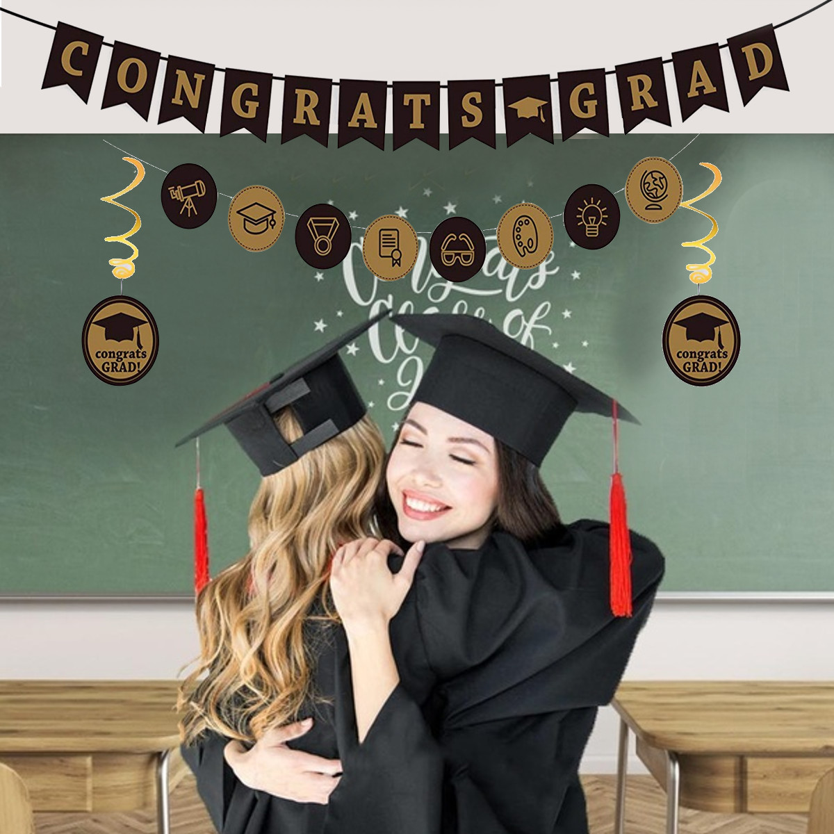 2020 Graduation Decorations Party Supplies Gold Black Cards Banner Background