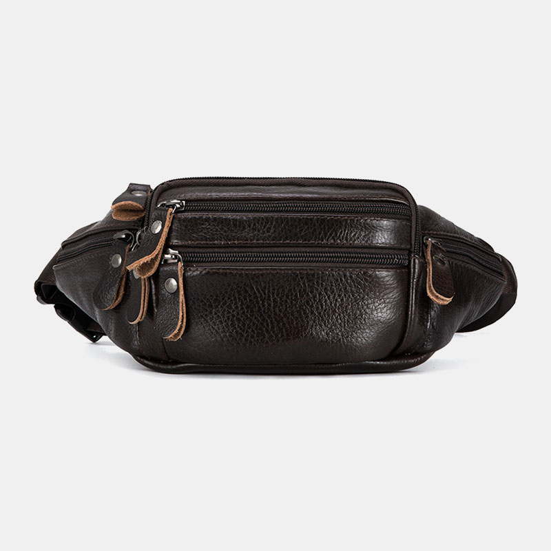 Men Genuine Leather Multi-pocket Large-capacity Multifunctional Crossbody Bag Chest Bag Sling Bag