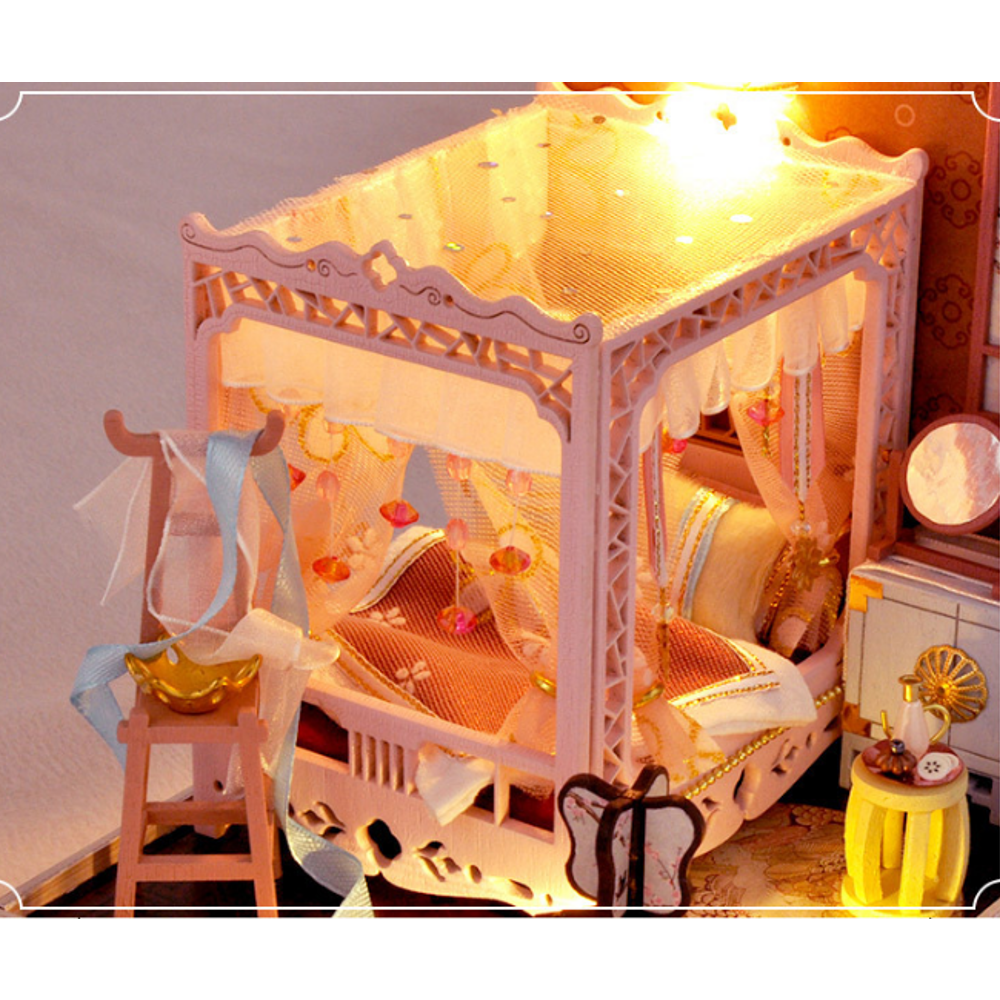TIANYU DIY Doll House TW35 Ink Color Collection of Pink Peach Creative Antiquity Scene Handmade Small House