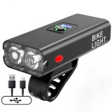 XANES Z-02A 2xT6 1200LM Bike Light USB Rechargeable Power Display Ultralight 6 Modes Waterproof MTB Front Lamp Bicycle Headlight