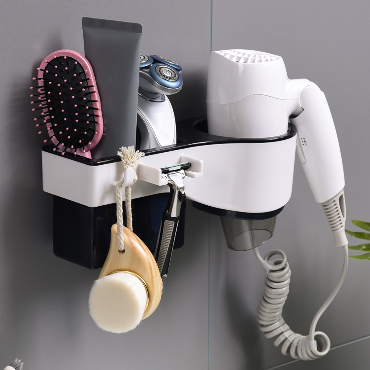 Hair Dryer Stand Holder Rack Shelf Wall Mounted Sticker Bath Storage
