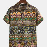 Mens Ethnic Style Stand Collar Short Sleeve Vintage Henley Shirts