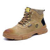 Men Synthetic Suede Steel Toe Slip Resistant Anti-puncture Work Safety Boots