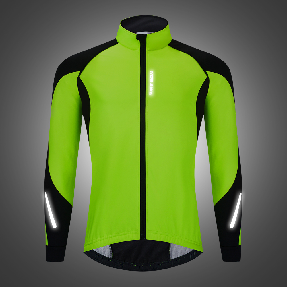 WOSAWE Autumn/Winter Cycling Fleece Jacket Cold Windproof Warm Up Outdoor Sports Jacket Safety Reflective Night Riding Coat