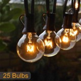 25FT Patio String Light Christmas G40 Globe Festoon Bulb Fairy String Light Outdoor Party Garden Garland Wedding Decorative Lights