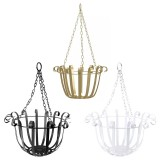 Black/White/Gold Wrought Iron Hanging Basket Wall Decor Hanging Flower Stand