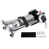 12V 24V Dual Air Horn Trumpet With Air Compressor Silver For Car Van Boat Truck Universal