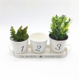 3pcs/Set Iron Bucket Flower Pot Tray Small Pots Herbs Planter Garden Window Pots