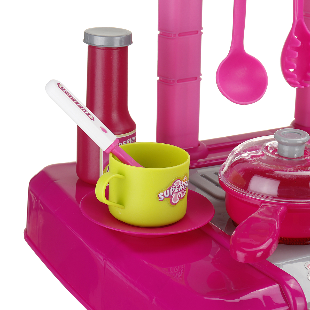 Children Play House Kitchen Toy Set Sound And Light Simulation Cooking Tableware Toy Early Education Puzzle Toys