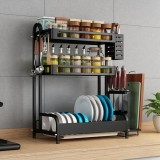 Bakeey Dish Drying Rack 304 Stainless Steel 2/3 Tier Dish Rack with Drain Board Utensil Holder Cutting Board Holder Rustproof Dish Drainer for Kitchen Countertop