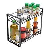 2-Tier Kitchen Spice Rack Organizer Chopsticks Storage Shelf Bathroom Shelf Organizer Countertop for Spice Can Sauce Jars Bottle