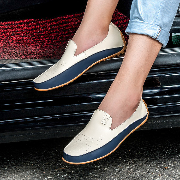 Men Slip-On Leather Shoes Casual Male Shoes Adult Driving Moccasin Soft Non-slip Loafers Casual Shoes