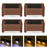 4PCS Solar Powered LED Deck Light Step Stairs Fence Lamp for Patio Garden Path IP55