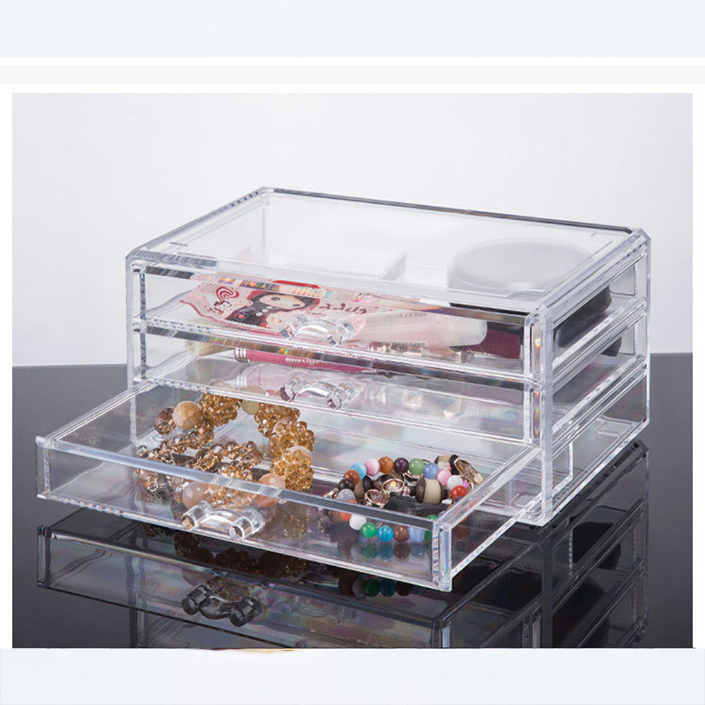 Transparent Cosmetics Storage Box Desktop Drawer Makeup Organizer 3 Layers Jewelry Storage Box Dustproof
