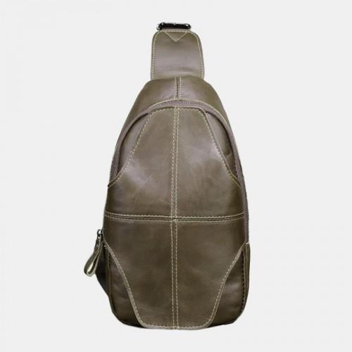Men Genuine Leather Anti-theft Retro Casual Business Crossbody Bag Chest Bag Sling Bag