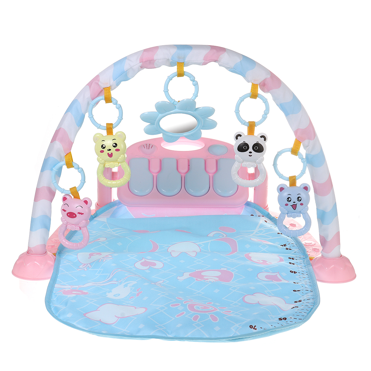 Baby Activity Play Mat Baby Gym Educational Fitness Frame Multi-bracket Baby Toys Music Piano Game Crawl Mats Rug