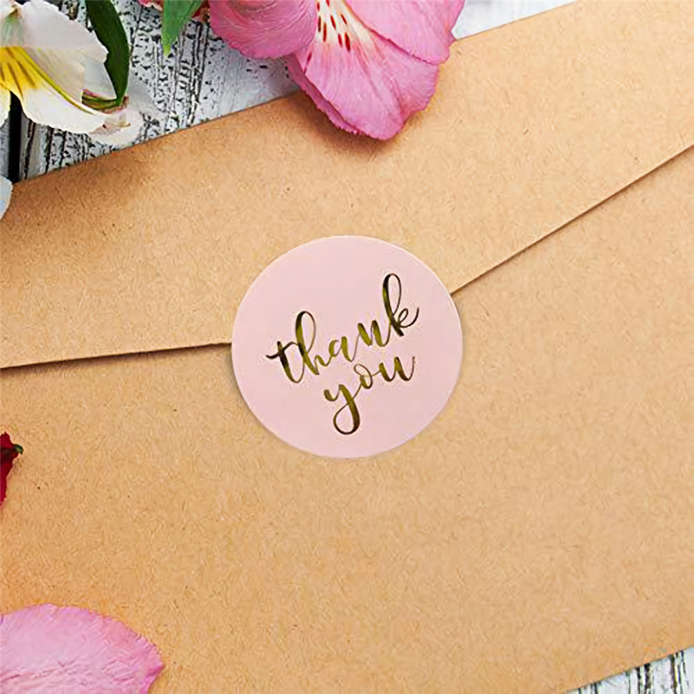 Pink Label Paper 500pcs/roll Thank You Sticker Seal Labels Christmas Gift Decoration Package Stationery Sticker Supplies