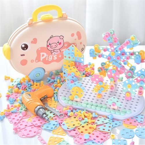 DIY Drilling Screw Creative Mosaic Puzzle Toys Electric Drill Set Educational Building Bricks Toy