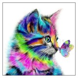 DIY 5D Diamond Painting 30*30 Colorful Cat Art Craft Kit Diamond Painting Tools Handmade Wall Decorations Gifts for Kids Adult