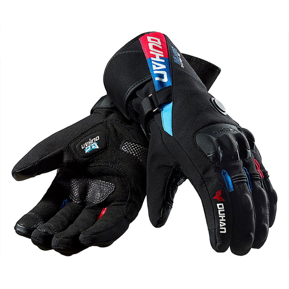 DUHAN Motorcycle Gloves Winter Electric Heating Waterproof Gloves Touch Screen Battery Powered Motorbike Racing Riding Gloves Warm Heated Gloves
