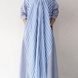 Women Striped Patchwork Loose Long Sleeve Casual Shirt Dress With Pocket