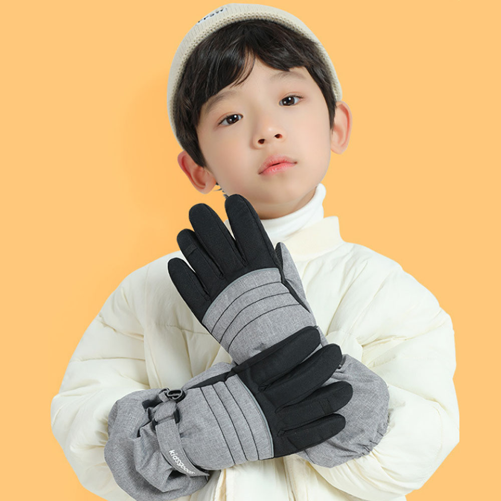Children Ski Gloves Professional Touch Screen Fleece Winter Warm Snowboard Gloves Ultralight Waterproof Full Finger Thermal Gloves Outdoor Climbing Camping