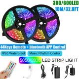 10M SMD5050/2835 RGB Smart LED Strip Light APP Control Music Waterproof Lamp 44 Keys Remote Control + Power Adapter
