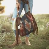 Women Christmas Gift Felt Vintage Geometry Pattern Large Capacity Shoulder Bag Tote Handbag With Tassel