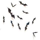 12Pcs Halloween Bat Sticker Set PVC 3D Decorative Scary Bats Wall Sticker For Halloween Eve Decor Home Window Decoration