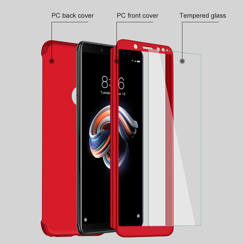 Bakeey for Xiaomi Redmi Note 9S / Redmi Note 9 Pro / Redmi Note 9 Pro Max Case 3 in 1 Plating 360 Full Cover Frosted Ultra-thin with tempered Glass PC Hard Protective Case
