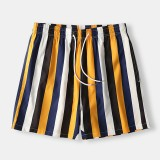 Men Colorful Stripe Shorts Quick Drying Mesh Lining Mid Length Beach Holiday Swim Trunks Shorts