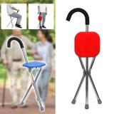 Folding Walking Stick Chairs Aluminium Cane Seat Tripod Stool Outdoor Camping Travel Max Load 90kg