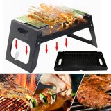 17.55×8.58×8.39in Folding BBQ Grill Stove Stainless Barbecue Charcoal Grill Outdoor Camping BBQ Patio Vacation