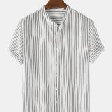Mens Pinstripe Stand Collar Casual Short Sleeve Designer Shirts