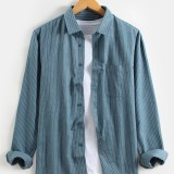 Mens Pinstripe Cotton Plain Casual Chest Pocket Long Sleeve Shirts