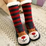 Women Warm Winter Outdoor Christmas Style Santa Claus Elk Pattern Plus Velvet Thicken Home Sleep Socks Tube Socks