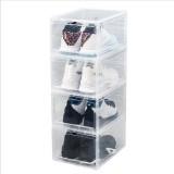 1 Piece Plastic Shoe Box Thicken PP Transparent Filp Cover Shoes Storage Racks Stackable Organizer Drawer Sneaker Shoe Case