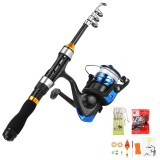 ZANLURE 1/1.7/1.9/2.1m Telescopic Fishing Rod Set Ultra-Light Sea Pole Casting Rods Fishing Tackle with Fishing Lures Fishing Hook